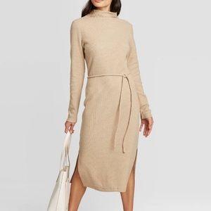Long Sleeve Mock Turtleneck Belted Knit Dress